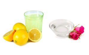 Rose water mixed with lemon juice for acne